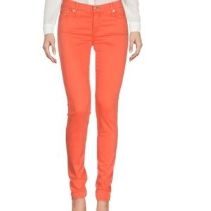 7 for All Mankind 💕orange stretchy skinny jeans